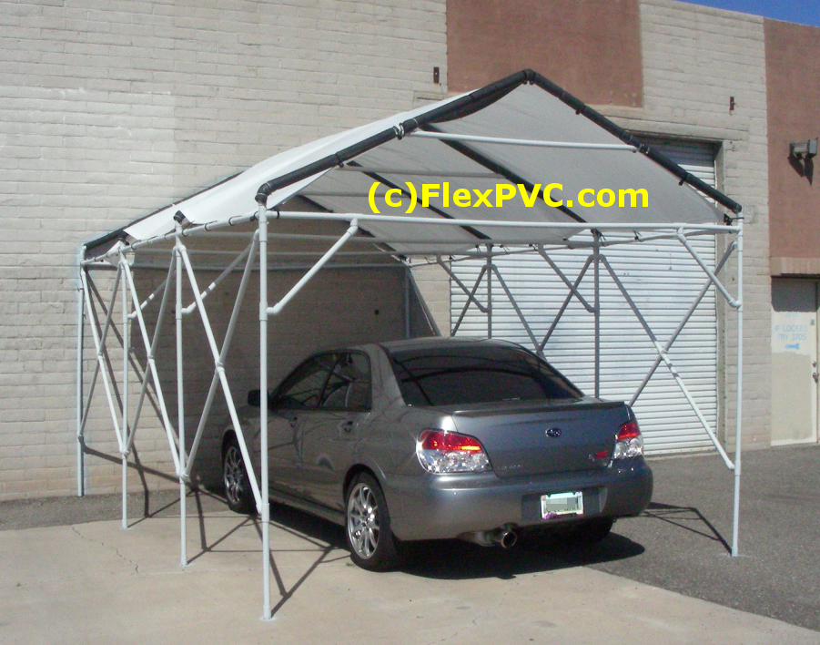 A cool car canopy. This is made of all 1  pvc pipe. Thatu0027s a 22 degree angle roof. The horizontal supports in the middle give it a lot of extra strength ... & 1 FlexPVC®.com Projects Structures Canopies Ladders  Dog Jumps ...