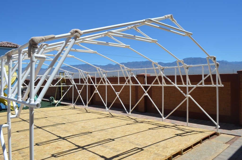 Another canopy made out of pvc pipe and fittings. Much larger. This frame when done has survived 60mph winds! The biggest problem is keeping the tarp from ... & 1 FlexPVC®.com Projects Structures Canopies Ladders  Dog Jumps ...