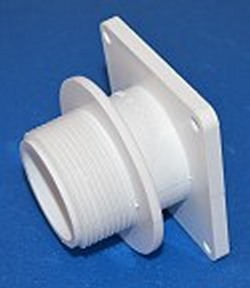 "1008-015W Mounting Flange Square with 1.5"" MPT - PVC-"