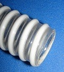 Type 125 BTF 1 inch ID white - clear corrugated pressure hose - Clear-Flexible-Pressure-Hose-BTF