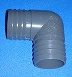 "1406-010 1"" Barb 90° Elbow PVC COO:USA - Barb-Elbows"