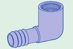 1407-053 1/2 MPT x 3/8 PVC Industrial Barb/Insert Fittings COO:USA - Barb-Elbows