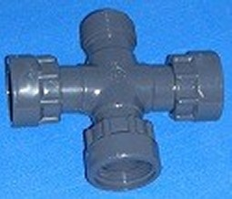 320-010 Cross with 3 FPT (female NPT) O-ring ports and 1 inch MPT  - BulkheadModularSystem