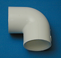 408-007 3/4 FPT (female NPT) x 3/4 FPT (female NPT) 90 Elbow COO: USA - PVC-Fittings-Elbows-90