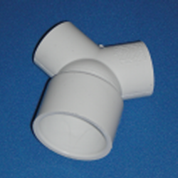 413-4130-2 1.5 inch by 3/4 inch True Wye, 120° Wye - PVC-Fittings-Wyes-TrueWye
