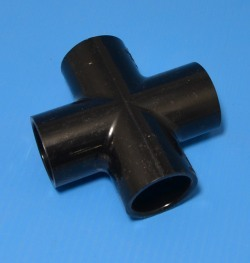 "420-007B Black 3/4"" cross COO: USA - PVC-BLACK-Fittings-Crosses"