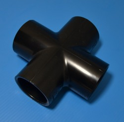 "420-015B Black 1.5"" cross COO: USA - PVC-BLACK-Fittings-Crosses"