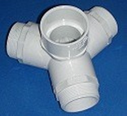 "423-015-MPF 1.5"" 4 way Side Outlet Wyes FLOW THROUGH MPT - PVC-Fittings-4-ways-side-outlet-Wyes"