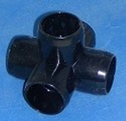 425-010FB 1 inch 5 way Furniture Grade BLACK - PVC-Fittings-5-ways-side-outlet-Cross
