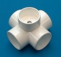 425-020FUR 2in 5 way PVC Fitting, FURNITURE GRADE Fabricated COO: USA - PVC-Fittings-5-ways-side-outlet-Cross