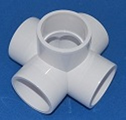 425-020C 2in 5 way PVC Furniture Grade Fitting, also Flow Thru - PVC-Fittings-5-ways-side-outlet-Cross