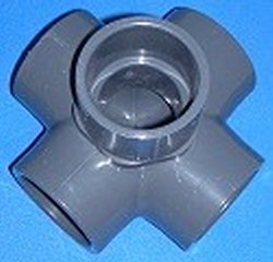 "825-251FLO 2 x (4) 1.5"" 5 way Pressure Fitting Sch 80 (GRAY) COO: USA - PVC-Fittings-5-ways-side-outlet-Cross"