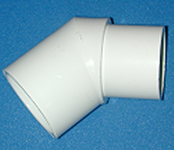 427-030-L slip x spigot 3 inch 45 elbow. COO:CHINA - PVC-Fittings-Elbows-45-degree-St