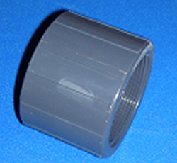 "830-025 2.5"" couple FPT (female NPT) x FPT Sch 80 Gray COO:USA - PVC-Fittings-Couples-FPTxFPT"