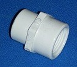 430-131 1 FPT (female NPT) x 3/4 FPT (female NPT) couple COO:USA - PVC-Fittings-Couples-FPTxFPT