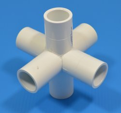"486-005FLO 1/2"" 6 way Flow Fitting NO Cancellation or Refund - PVC-Fittings-6-ways"