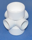 "486-249 2 x 1"" 6 way, non-flow fitting NO Cancellation or Refund  - PVC-Fittings-6-ways"