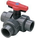 5022L1-010 1 inch Spears 3 way Ball Diverter Valve - PVC-Valves-3way-Diverter
