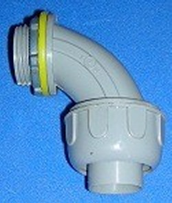 5441004 1.25 Gray UL Approved Liquid Tight 90 into box - PVC-Electrical-Conduit-Connectors
