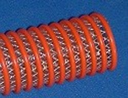 100' 2 ID braided Hybrid hose ORANGE/clear - Clear-Braided-Hybrid-ByTheRoll