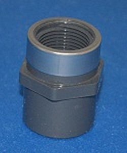 835-007SR Sch 80 3/4 Female Adapter GRAY with Stainless Ring  - PVC-Fittings-Sch80