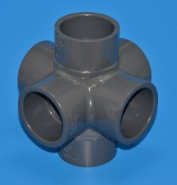 "886-015 1.5"" 6 way Flow Fitting Custom - PVC-Fittings-6-ways"