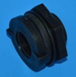 "TF100PE Poly 1"" FPT Bulkhead Fitting. Reverse Thread on the nut. - Bulkhead-Fittings-Polypropylene"