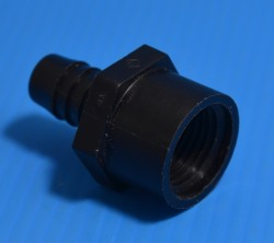 "AF1212P 1/2"" Fpt x 1/2"" hose barb, Poly, Black - Barb-Adapters-Threaded"