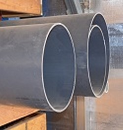 Gray Nominal 14 inch duct pipe, custom cut - PVC-PIPE-DUCT-Thinwall