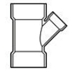 "P601-257 2"" x 1.5"" x 2"" wye (picture approximate) - PVC-DWV-Fittings-Wyes"
