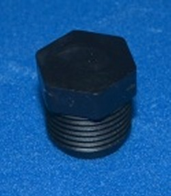 "F1000P 1"" pipe plug with hex, BLACK - Polypropylene-Plugs"