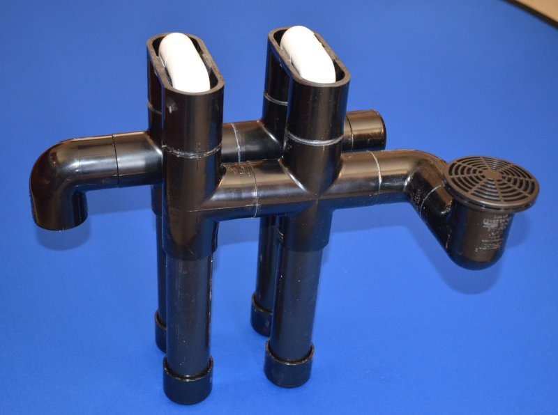 PVC Hang On Overflow, Black, Dual Flow Paths (SEE DETAILS) 2500 GPH - PVC-Marine-Overflows
