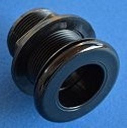 9110-SS ABS BLACK 1 SLIP x 1 SLIP Bulkhead Fitting COO:USA - Bulkhead-Fittings-Economy