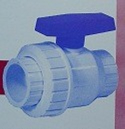 "T4-005W 1/2"" PVC Single Union Ball Valve TxT WHT - CLEARANCE"