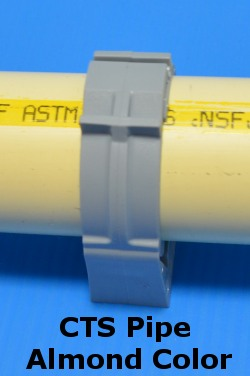 "Clic-007CTS SMC 22mm for 3/4 >>CTS almond colored pipe<<"" pvc pipe - Pipe-Mounting-Clamps"