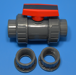"VST8-02 2.5"" True Union Ball Valve VITON COO:USA - PVC-Valves-Ball-Valves-TrueUnion"
