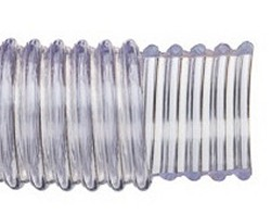 "W145 1.25"" ID clear WIRE WRAPPED PVC Hose 100' roll COO:USA - Clear-Static-Wire-Hose-ByTheRoll"
