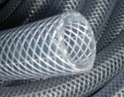 1 ID x 1-5/16 OD Clear Braided Hose by the foot. -