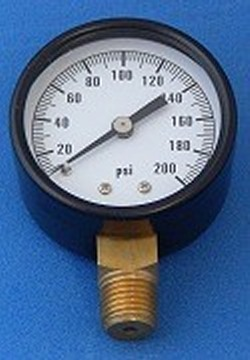"Gauge 0-200psi 2"" face 1/4MPT - Gauges"