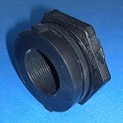 9320-TT Poly 2 inch FPT Bulkhead Fitting Reverse Thread on the nut. - Bulkhead-Fittings-Polypropylene